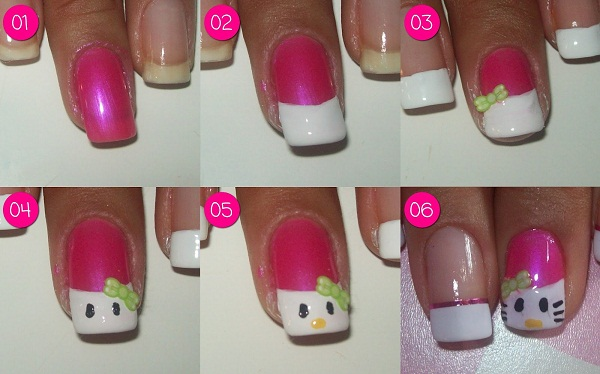 unha-decorada-hello-kitty-passo-a-passo