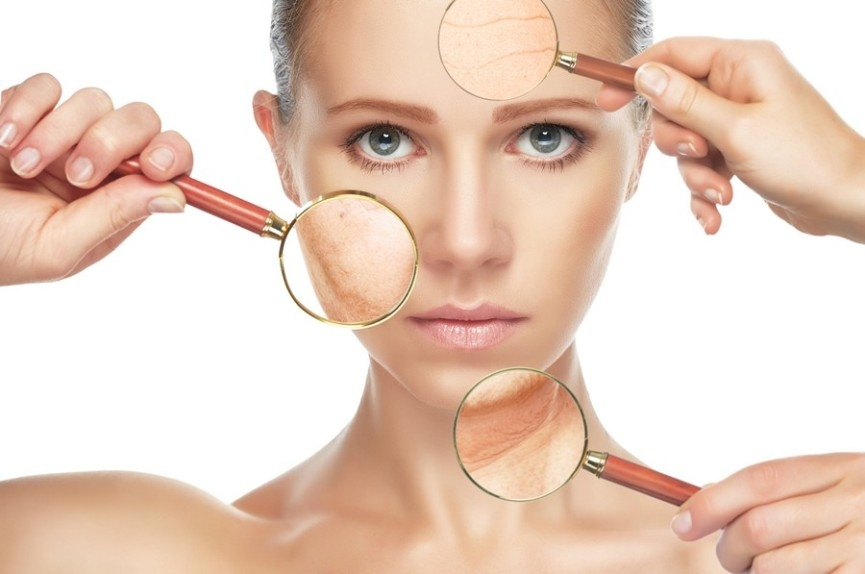 beauty concept skin aging. anti-aging procedures rejuvenation lifting tightening of facial skin restoration of youthful skin anti-wrinkle