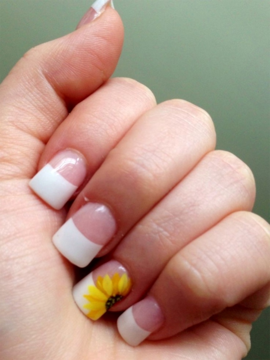 simple-french-nail-design-with-sunflower-2016