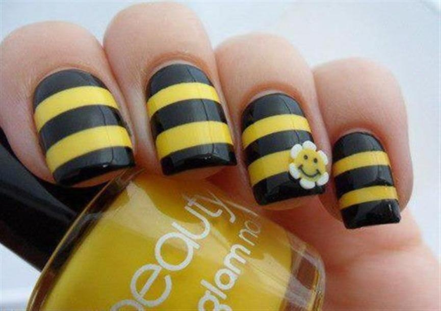 summer-yellow-sunflower-nail-art-designs