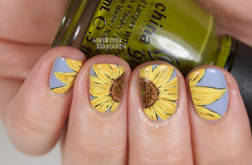 trendy-sunflower-nail-paint-ideas