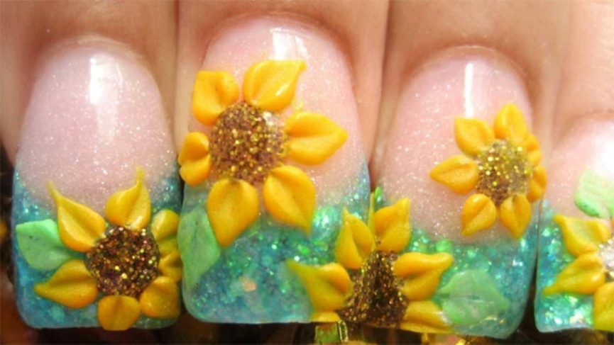 wonderful-sunflower-acrylic-nails-designs