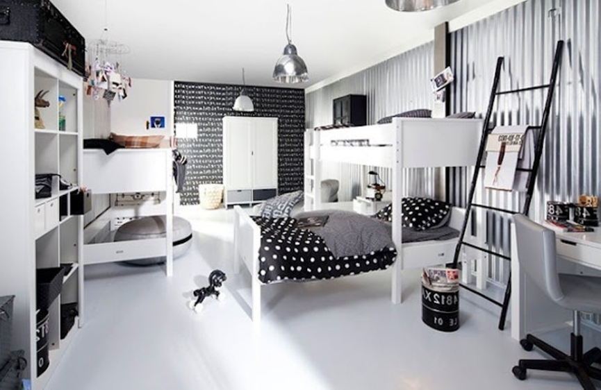 Quarto infantil preto e branco for Black and white rooms for teens