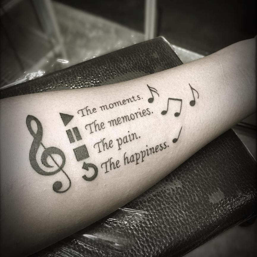 Live Life With No Regrets Tattoo Sketches Drawing Art: Tatuagens De Música Símbolos Frases Cifras E Instrumentos